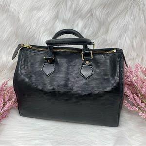 Louis Vuitton Speedy 25 Black Epi Leather Satchel